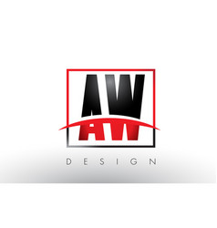 Aw a w logo letters with red and black colors and vector