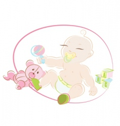 Baby with toys vector