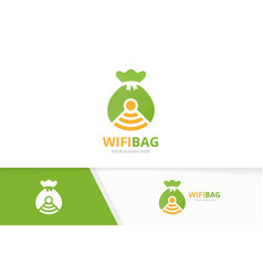 Bag and wifi logo combination sack and vector