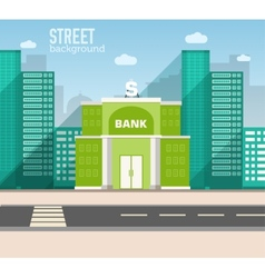 Bank building in city space with road on flat vector