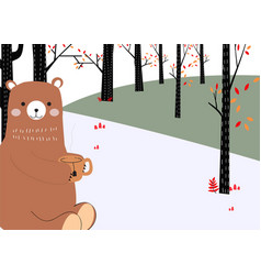 Bear sitting relaxing in forest vector