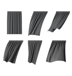 black fluttering curtain set isolated vector image