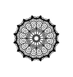 Black silhouette abstract flower mandala vintage vector