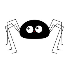 black spider silhouette long paws happy halloween vector image
