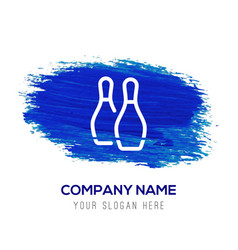 Bowling pin icon - blue watercolor background vector