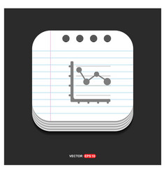 business graph icon gray icon on notepad style vector image