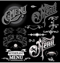 Calligraphic elements for design label menu vector
