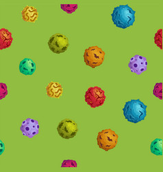 Cartoon asteroids seamless background in flat vector