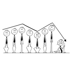 Cartoon of group of businessmen rising up and vector