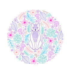 cat and flowers on white background vector image