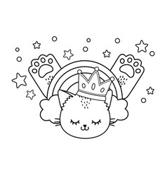cat with crown black and white vector image