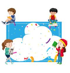 Children reading around a blue frame vector