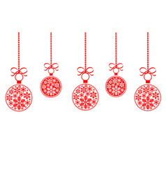 christmas ball red isolated background vector image