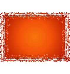 Christmas red background with border of snowflakes vector