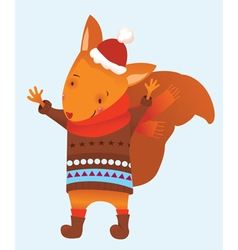 Christmas squirrel vector image