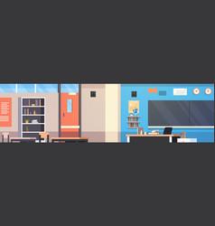 Classroom interior empty school class room vector