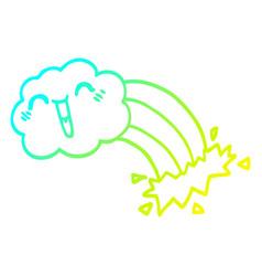 cold gradient line drawing cartoon happy cloud vector image