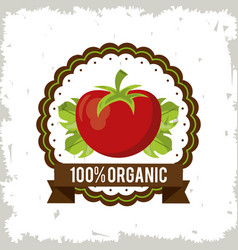 Colorful logo of organic food with tomato vector