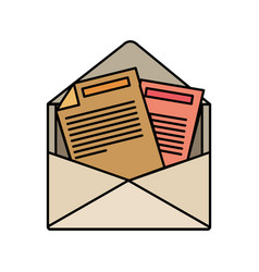 colorful silhouette of opened envelope mail vector image