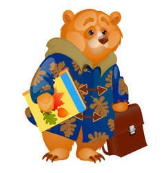 cute animated brown bear holding in its paws a vector image