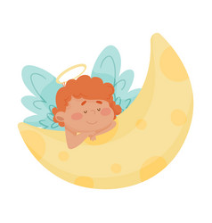 Cute baby angel with gold nimbus and wings vector