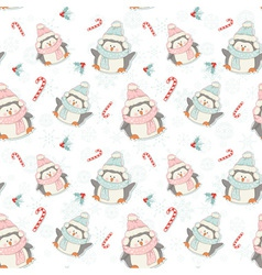 Cute Christmas penguins seamless pattern vector