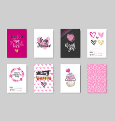 cute valentine day greeting card collection doodle vector image