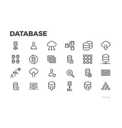 Database icons server data processing cloud vector