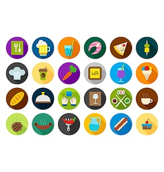 Diner round icons set vector