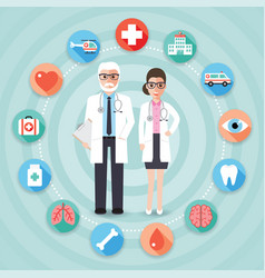 doctor and medical and hospital icons vector image vector image