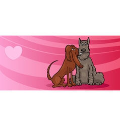 Dogs couple in love valentine card vector