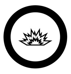 explosion black icon in circle vector image