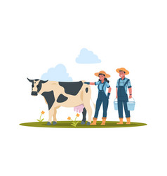farmers with cow characters doing farming job vector image