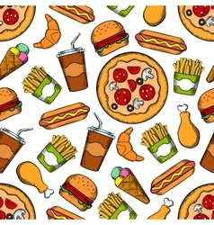 Fast food snacks drinks seamless background vector