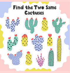 find two same cactuses logical game for kids vector image