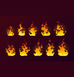 fire flames burning isolated cartoon flat set vector image