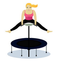 Fitness on trampoline vector