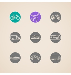 flat icons with different modes of transport vector image