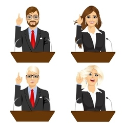 four different politicians speaking on microphone vector image