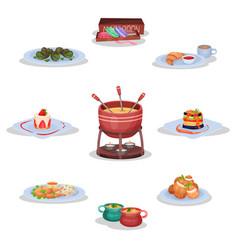 french cuisine set macaroon cookies escargot vector image
