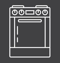 Gas stove line icon kitchen and appliance vector