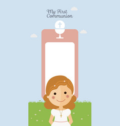 Girl communion with mesage and blue sky background vector
