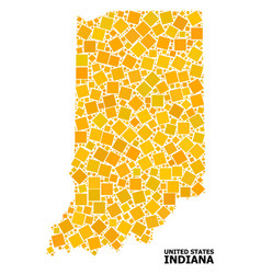 Golden rotated square mosaic map indiana state vector