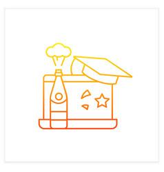 Graduation online party gradient icon vector