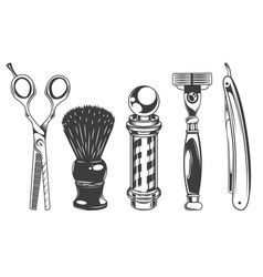 hairdressers tools and barbershop set black and vector image