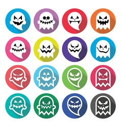 Halloween scary ghost spirit flat design icons vector