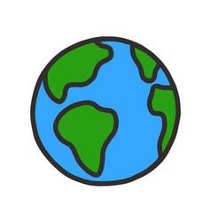 Hand drawn globe cartoon earth planet doodle vector