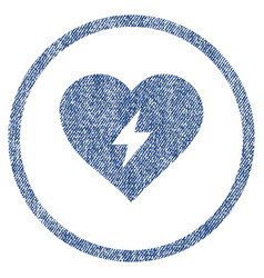 Heart power rounded fabric textured icon vector