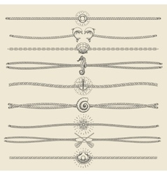 Hipster Style Hand Drawn Nautical Divider Set vector image