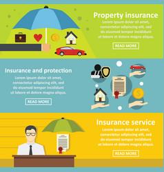 Insurance banner horizontal set flat style vector